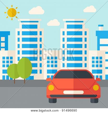 A car park infront of the building. A Contemporary style with pastel palette, soft blue tinted background with desaturated clouds. Vector flat design illustration. Square layout.