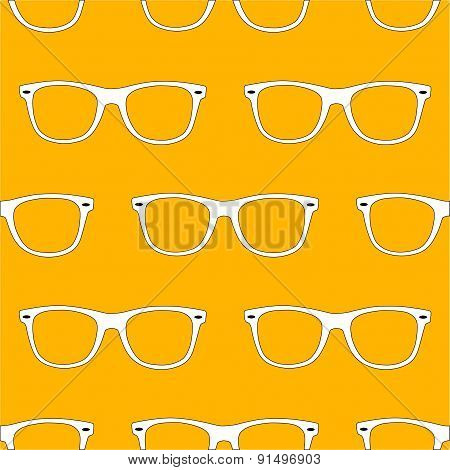 Outline Sunglass Seamless Pattern On Yellow Background.