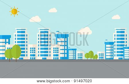 A buildings with trees under the sun. A Contemporary style with pastel palette, soft blue tinted background with desaturated clouds. Vector flat design illustration. Horizontal layout.