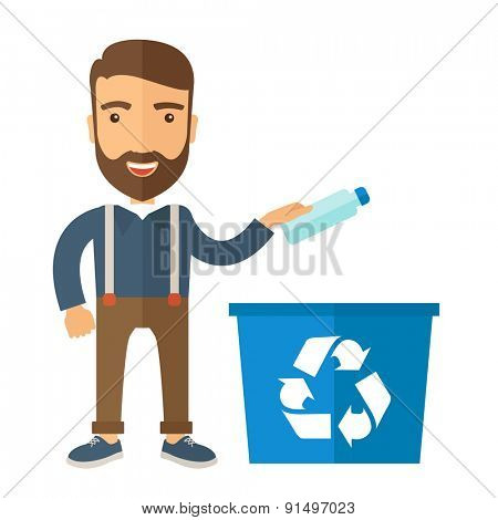A hipster throwing plastic container into blue can with recycle symbol. A Contemporary style. Vector flat design illustration isolated white background. Square layout.