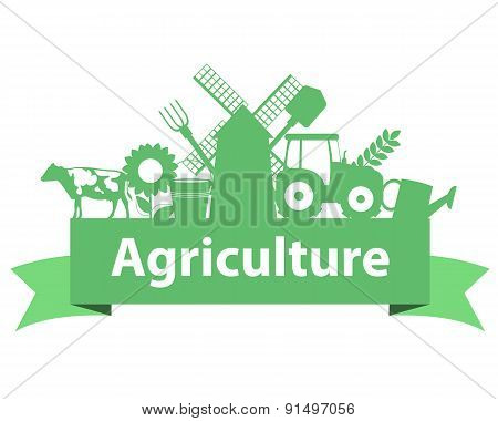 Agriculture on the ribbon. Tractor, mill and cow. Vector illustration