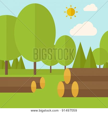 Pile of drywood sorrounded by a trees. A Contemporary style with pastel palette, soft blue tinted background with desaturated clouds. Vector flat design illustration. Square layout.