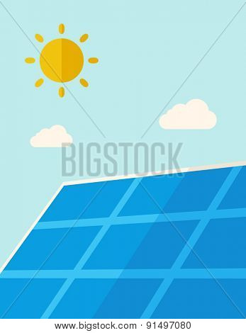 A solar energy panel under the heat of the sun. A Contemporary style with pastel palette, soft blue tinted background with desaturated clouds. Vector flat design illustration. Vertical layout.