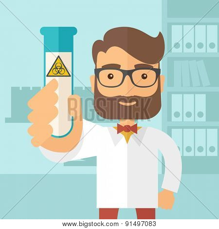 A young Scientists experimenting with glass tube inside the laboratory. A Contemporary style with pastel palette, soft blue tinted background. Vector flat design illustration. Square layout.