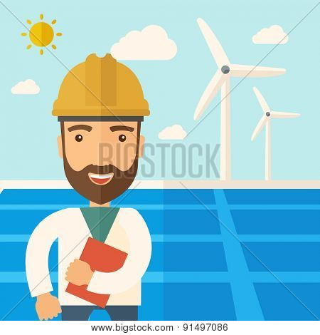 A man wearing hardhat smiling under the heat of the sun with solar panels and windmills. A Contemporary style with pastel palette, soft blue tinted background with desaturated clouds. Vector flat