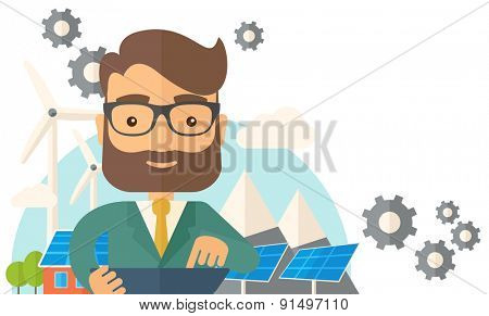 A mid adult male engineer holding a blueprint in a solar panel. A Contemporary style with pastel palette, soft beige tinted background. Vector flat design illustration. Horizontal layout with text