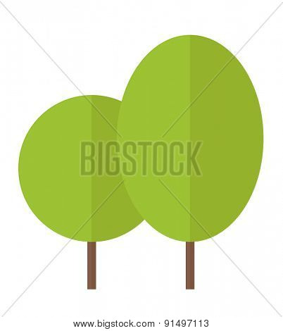 A two green eco leaves. A Contemporary style. Vector flat design illustration isolated white background. Vertical layout