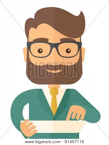A man with laptop. A Contemporary style. Vector flat design illustration isolated white background. Vertical layout