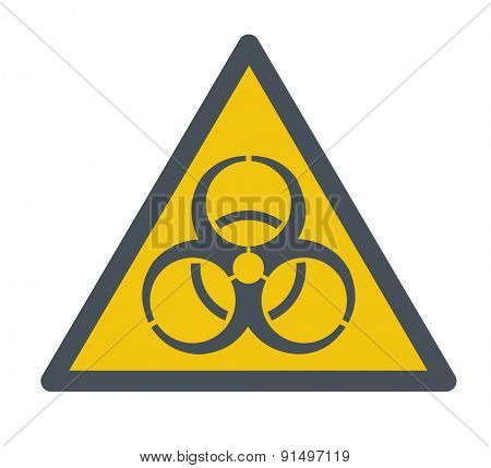 A Biohazard symbol. A Contemporary style. Vector flat design illustration isolated white background. Square layout