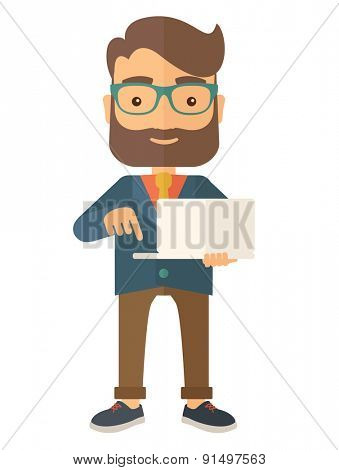 A successful man holding a laptop. A man with laptop. A Contemporary style. Vector flat design illustration isolated white background. Vertical layout