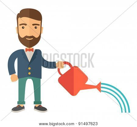 A man holding a watering can with water. A Contemporary style. Vector flat design illustration isolated white background. Square layout.