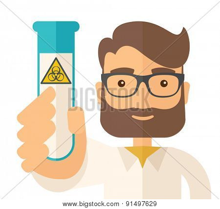 A young Scientists experimenting with glass tube. A Contemporary style. Vector flat design illustration isolated white background. Square layout.