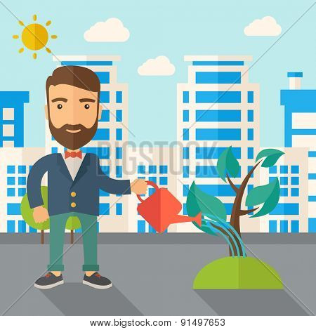 A man watering the growing plant as improving economy. A Contemporary style with pastel palette, soft blue tinted background with desaturated clouds. Vector flat design illustration. Square layout.