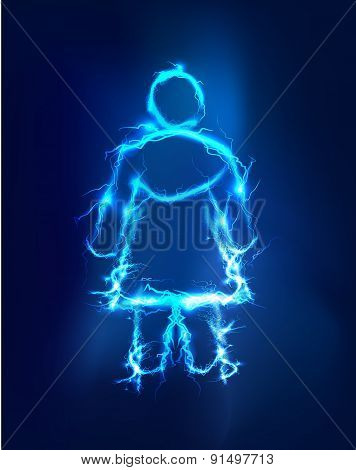 Woman, Abstract background made of Electric lighting effect