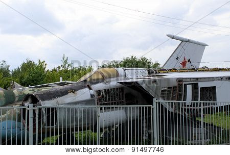 Military aircraft junkyard