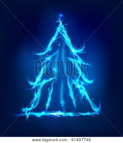 Christmas tree, Abstract background made of Electric lighting effect