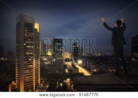 Business Man Shout On The Building Rooftop