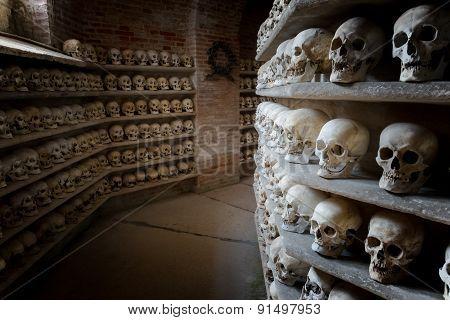 Human Skulls Inside A Catacomb Inside A Catacomb