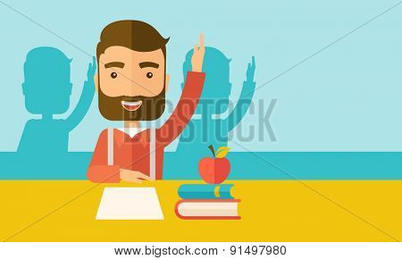 A young student raising his hand with a smile. A Contemporary style with pastel palette, soft green tinted background. Vector flat design illustration. Horizontal layout with text space in right side.