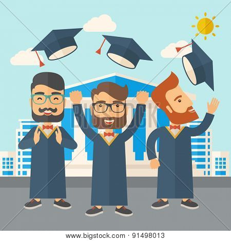 A smiling three men throwing graduation cap in the air. A Contemporary style with pastel palette, soft blue tinted background with desaturated clouds. Vector flat design illustration. Square layout.