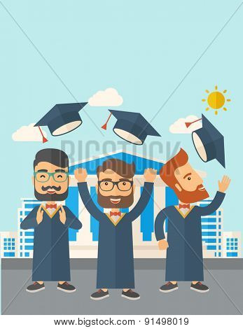 A smiling three men throwing graduation cap in the air. A Contemporary style with pastel palette, soft blue tinted background with desaturated clouds. Vector flat design illustration. Vertical layout