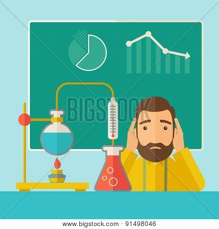 A science teacher with scared facial expression works on mixing chemicals for an experiment in the laboratory. A Contemporary style with pastel palette, soft green tinted background. Vector flat