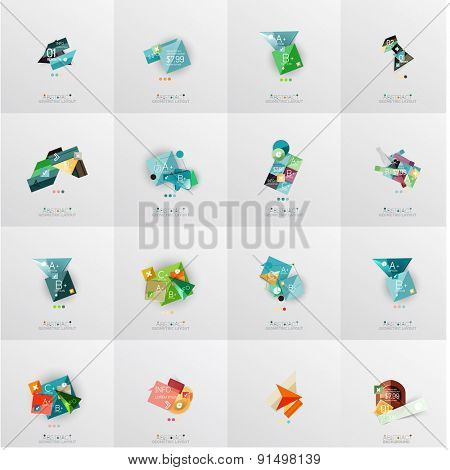 Modern geometric design temlates for universal diagrams, presentation banners, number options and workflow layouts. Vector illustration