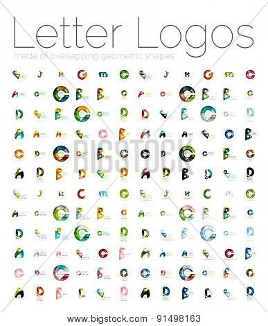Mega set of various letter logos. Created with transparent colorful overlapping geometric shapes, waves and flowing shapes. Vector illustration