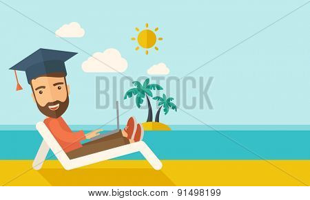 A young man sitting, wearing graduation cap with laptop on the beach under the sun. A Contemporary style with pastel palette, soft blue tinted background with desaturated clouds. Vector flat design
