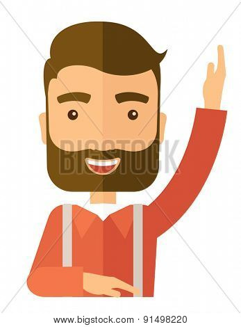 A young student raising his hand with a smile. A Contemporary style. Vector flat design illustration isolated white background. Vertical layout