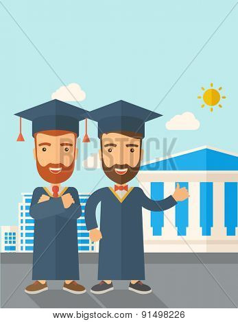 A happy two young men wearing a toga and graduation cap standing under the sun. A Contemporary style with pastel palette, soft blue tinted background with desaturated clouds. Vector flat design