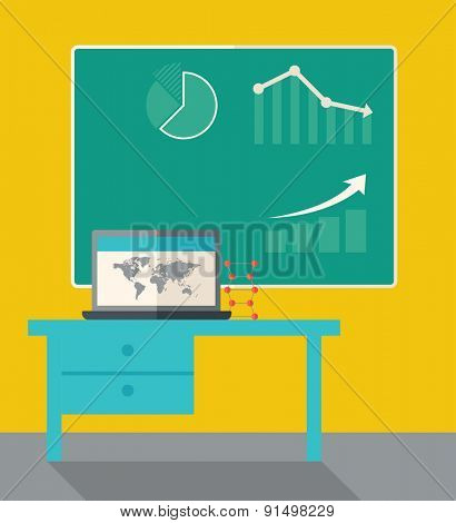 A blackboard with hand drawn growing bar graph, a table and laptop on the top. A Contemporary style with pastel palette, dark yellow tinted background. Vector flat design illustration. Square layout.