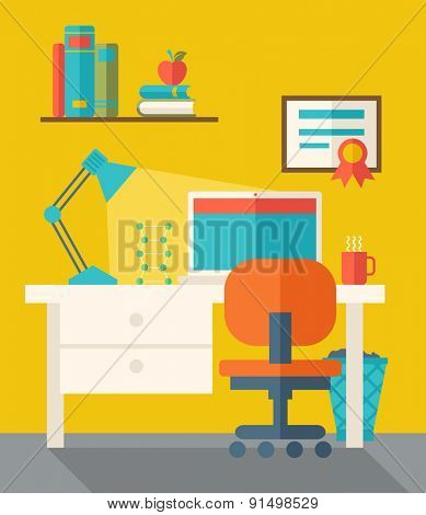 Office Space with computer, table, lamp, and chair. . A Contemporary style with pastel palette, dark yellow tinted background. Vector flat design illustration. Square layout.