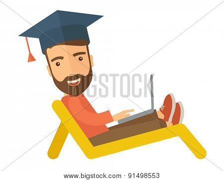 A young man sitting, wearing graduation cap with laptop on the beach. A Contemporary style. Vector flat design illustration isolated white background. horizontal layout