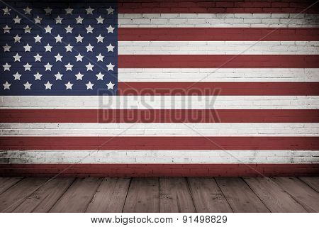 Interior Wall And Wooden Floorwith Usa Flag Design