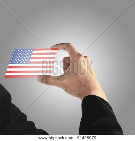 Man Hand Hold Transparent Card With Usa Flag