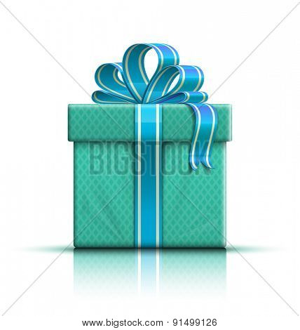 Nice color glossy gift box with bow and ribbon. Vector illustration