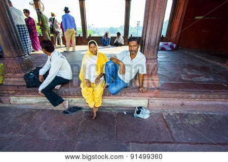 Family Rests In Jama Masjid Mosque, Old Delhi, India.