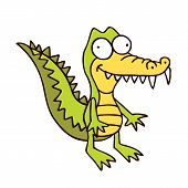 foto of crocodile  - crocodile cartoon smiling alligator funny hand drawn character - JPG