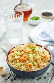 foto of quinoa  - quinoa with shrimp and parsley on a white wood background - JPG