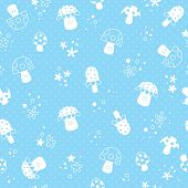 foto of face-fungus  - flowers and mushrooms nature pastel baby seamless pattern - JPG