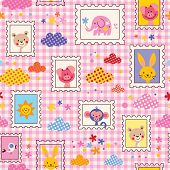 picture of baby pig  - cute baby animals seamless pattern kids design - JPG