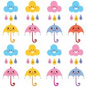 pic of raindrops  - cute umbrellas raindrops clouds characters pattern swatch - JPG