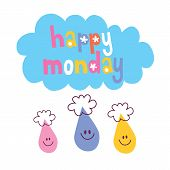 stock photo of monday  - Happy Monday design with cute rain drop characters - JPG