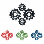 picture of four-wheel  - Colored grunge icon set with image of four cogs - JPG