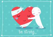 picture of cheer-up  - illustration of giving hug to cheer up friend - JPG