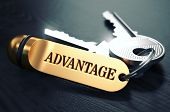 picture of disadvantage  - Keys and Golden Keyring with the Word Advantage over Black Wooden Table with Blur Effect - JPG