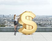 picture of prosperity sign  - Young lady is climbing on the huge golden dollar sign on the rooftop - JPG
