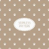 foto of footprint  - Seamless pattern with animal footprints - JPG