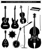 stock photo of double-bass  - Set of Country music instruments - JPG